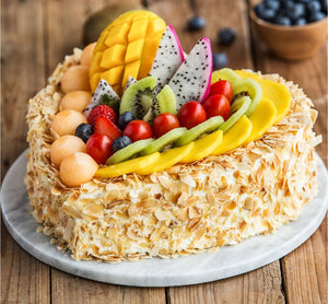Heart Shape Cream Cake with Fruits & Nuts