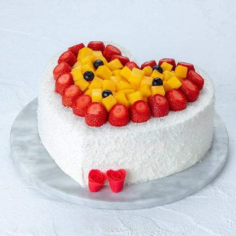 Heart Shape Strawberry & Mango Fruit Cake to China