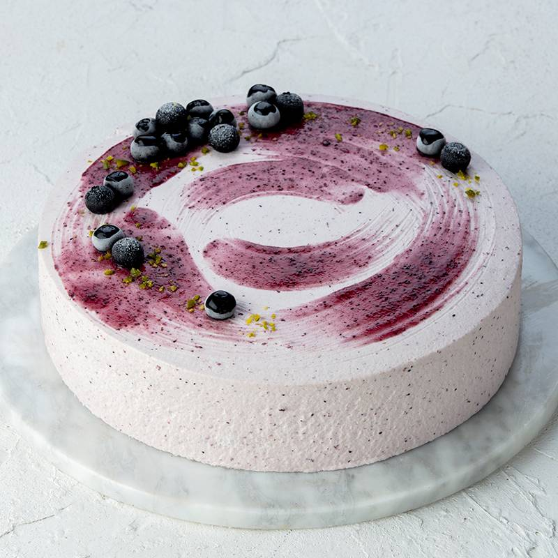 Chinese Style Single Cream Blueberry Cake