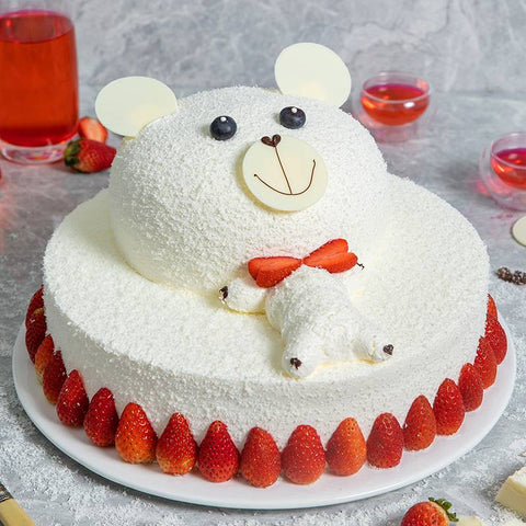 3 Pounds Cartoon Bear Shape Stawberry Cake