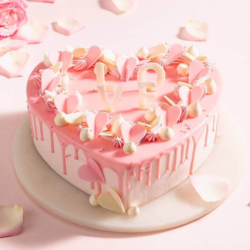 2 Pounds Pink Heart Shape Cake to China