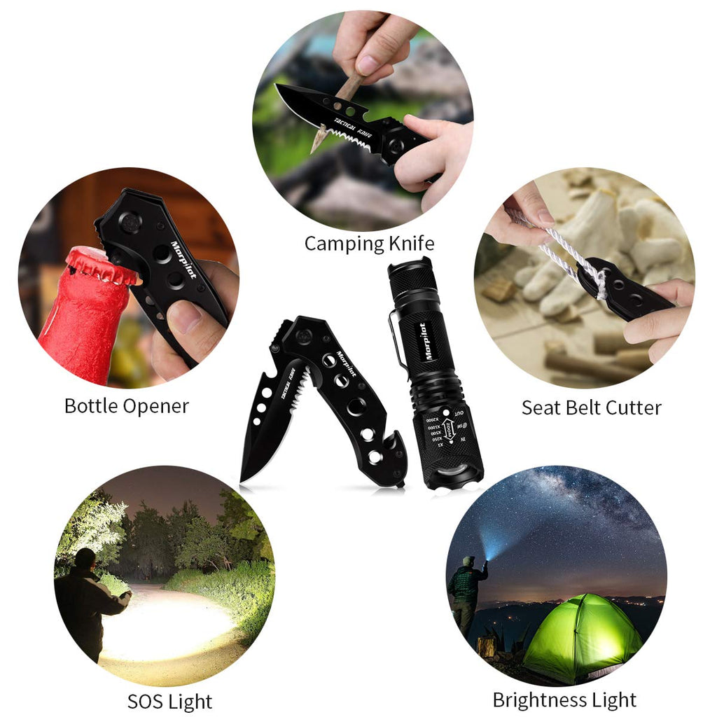 Keenstone Tactical Pocket Knife Tactical Flashlight Set, 5 in 1 Mutitool Knife and 5 Modes Zoomable Tactical Flashlight Torch for Camping Hiking Fishing Survival