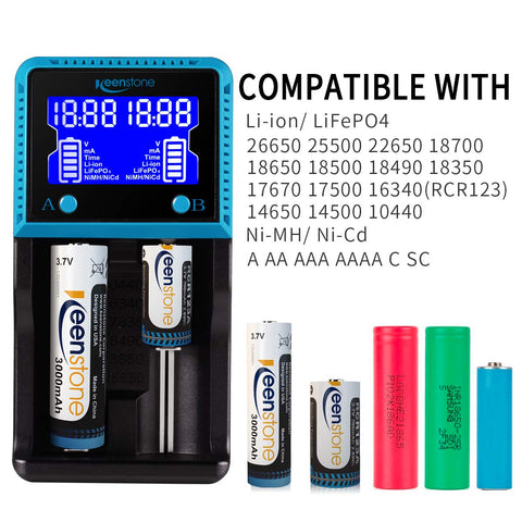 Universal Battery Charger, Keenstone Fast Smart Charger LCD Display for Rechargeable Batteries Ni-MH Ni-Cd AA AAA Li-ion LiFePO4 IMR 10440 14500 16340 18650 RCR123A 26650