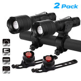 UK morpilot Mountain Bike Lights Front and Back Set, LED Bicycle Lights USB Rechargeable, 5 Modes, 700 Lumen, Waterproof for Night Safety Cycling Includes Batteries & Charger (2 Pack)