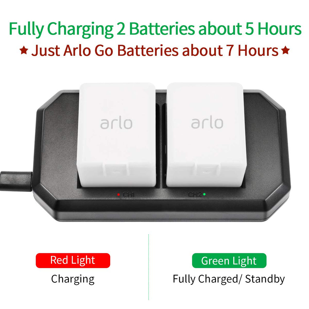 UK Keenstone Arlo Pro Battery Charger, 2 Port Charging Station with UK Plug for Arlo Pro, Arlo Pro 2, Arlo Go, Arlo Light Rechargeable Batteries