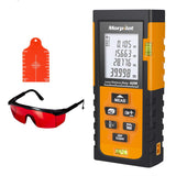 UK Laser Measuring Tape,Morpilot 60M Laser Measure with Target Plate & Enhancing Glasses,Laser Measure Device with Pythagorean Mode, Measure Distance, Area, Volume Calculation - Black & Orange