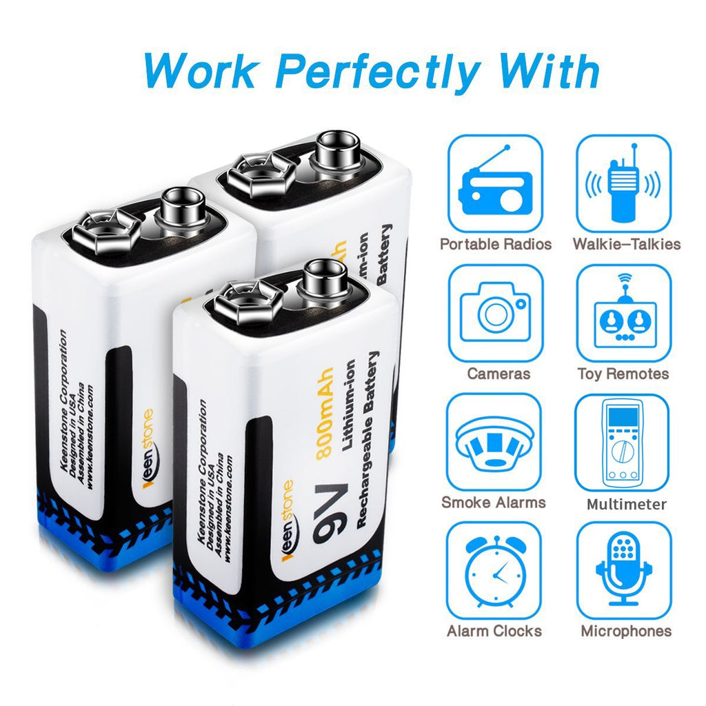 3 Pack 9V 800mAh Rechargeable Batteries and Charger