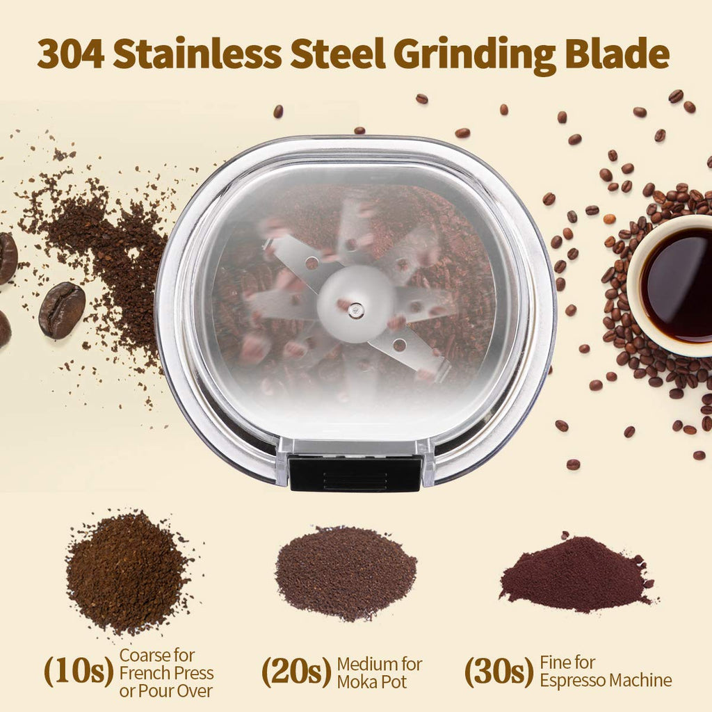 UK Morpilot Electric Coffee Grinder,150w Stainless Steel Blades Grinder with Coffee Bean Grinders for Spices, Herbs, Nuts, Grains-Includes a Cleaning Brush