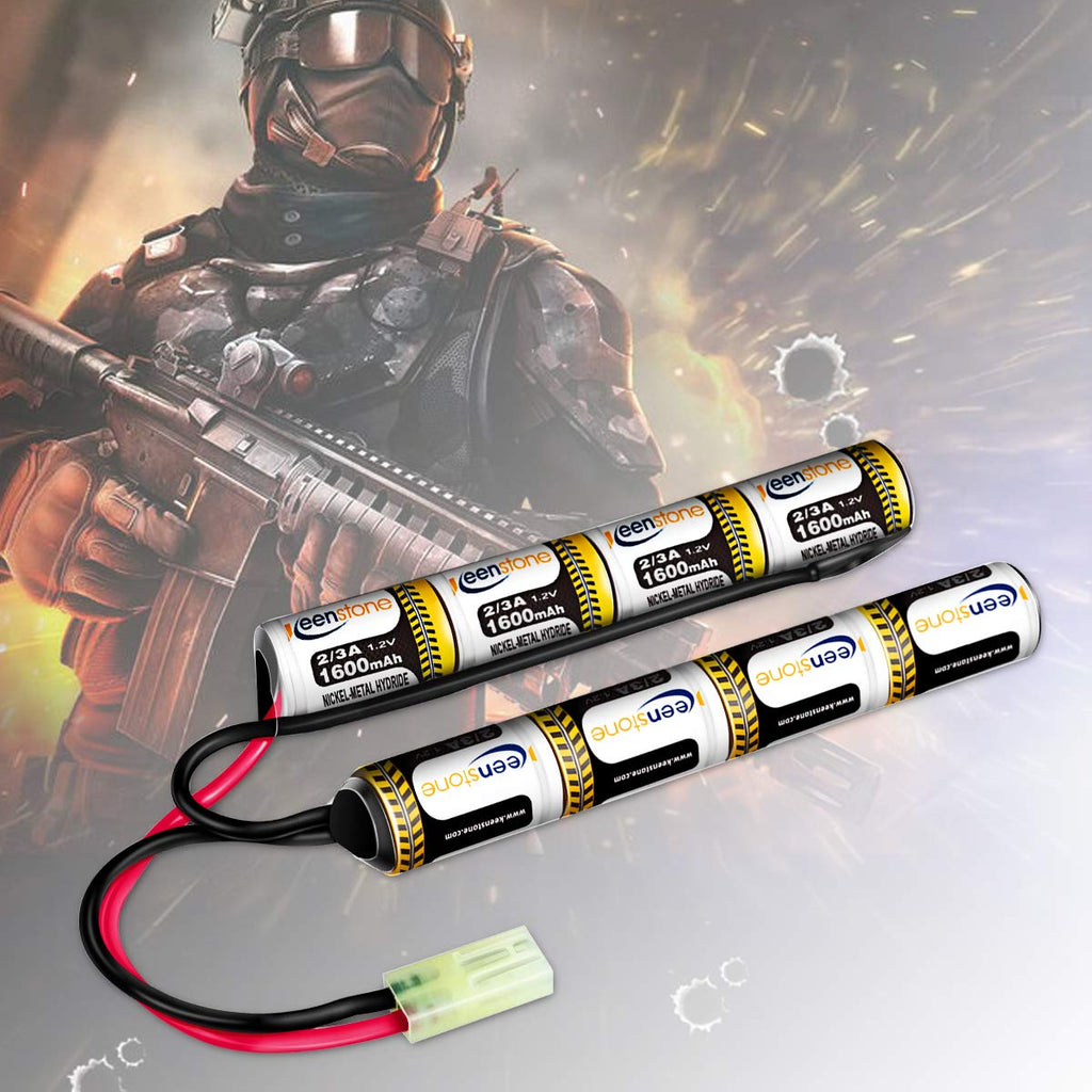 UK Keenstone 9.6V NiMH Airsoft Battery Stick, 2/3A 1600mAh Rechargeable Butterfly Nunchuck Crane Battery Pack with Mini Tamiya Connector for Airsoft Guns G36 M4 MP5 M249