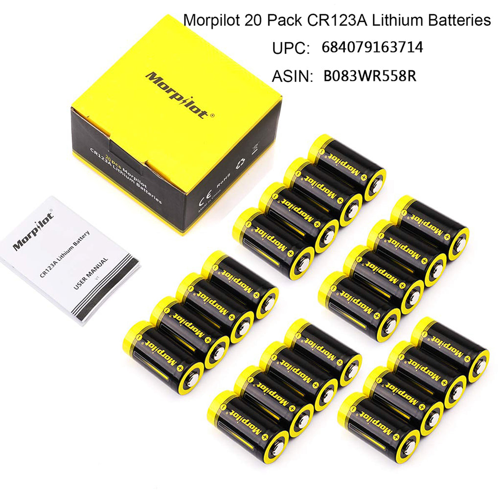 20 Pack 1500mAh Non-Rechargeable CR123A Batteries