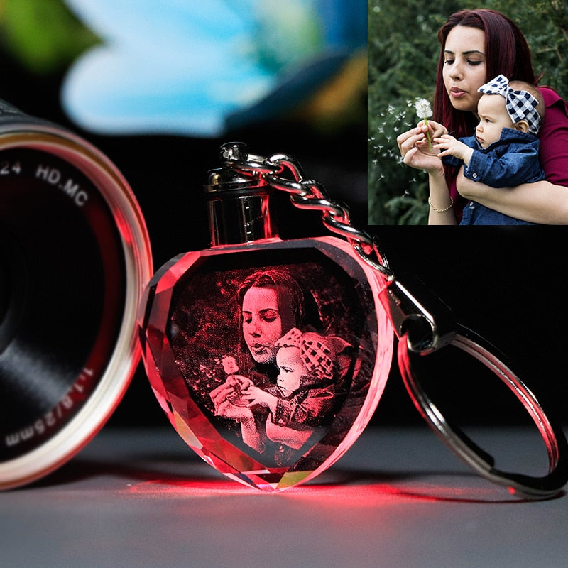 Laser Engraved Crystal Glass with 7 Color Changing Led Lights - Personalize It with your Photos
