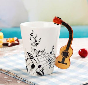 Creative Music Violin Style Guitar Ceramic Coffee Mug