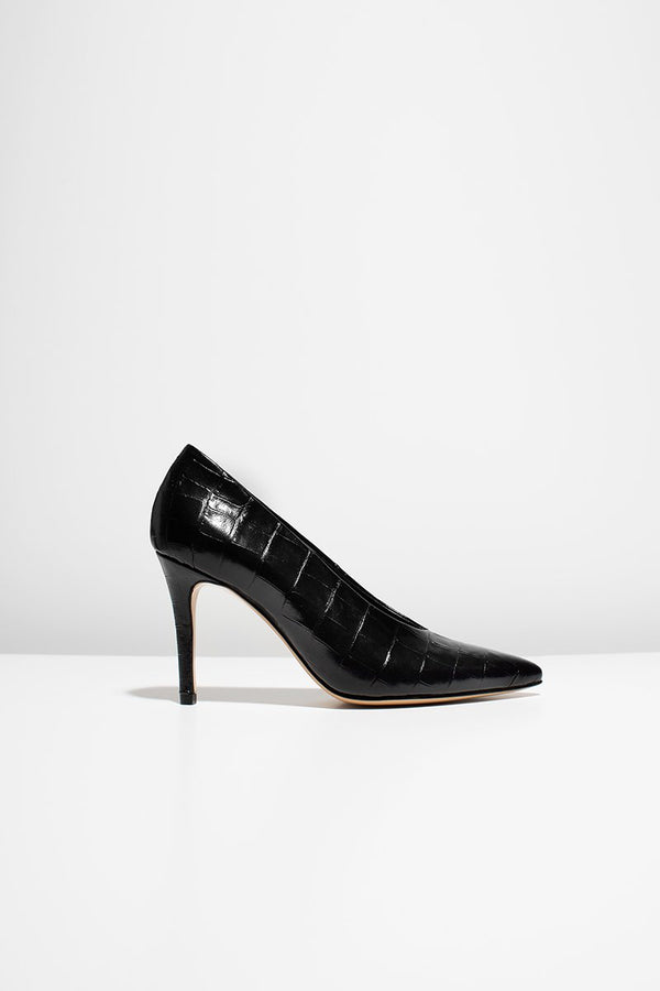 Pinch me - black croc-effect leather (only size 39, 40, 41 left in stock)