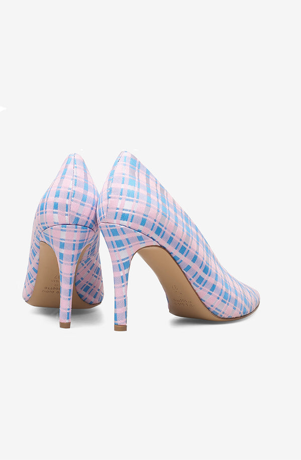 Pinch me checked textile (pink / light blue / white) - only size 36 left in stock