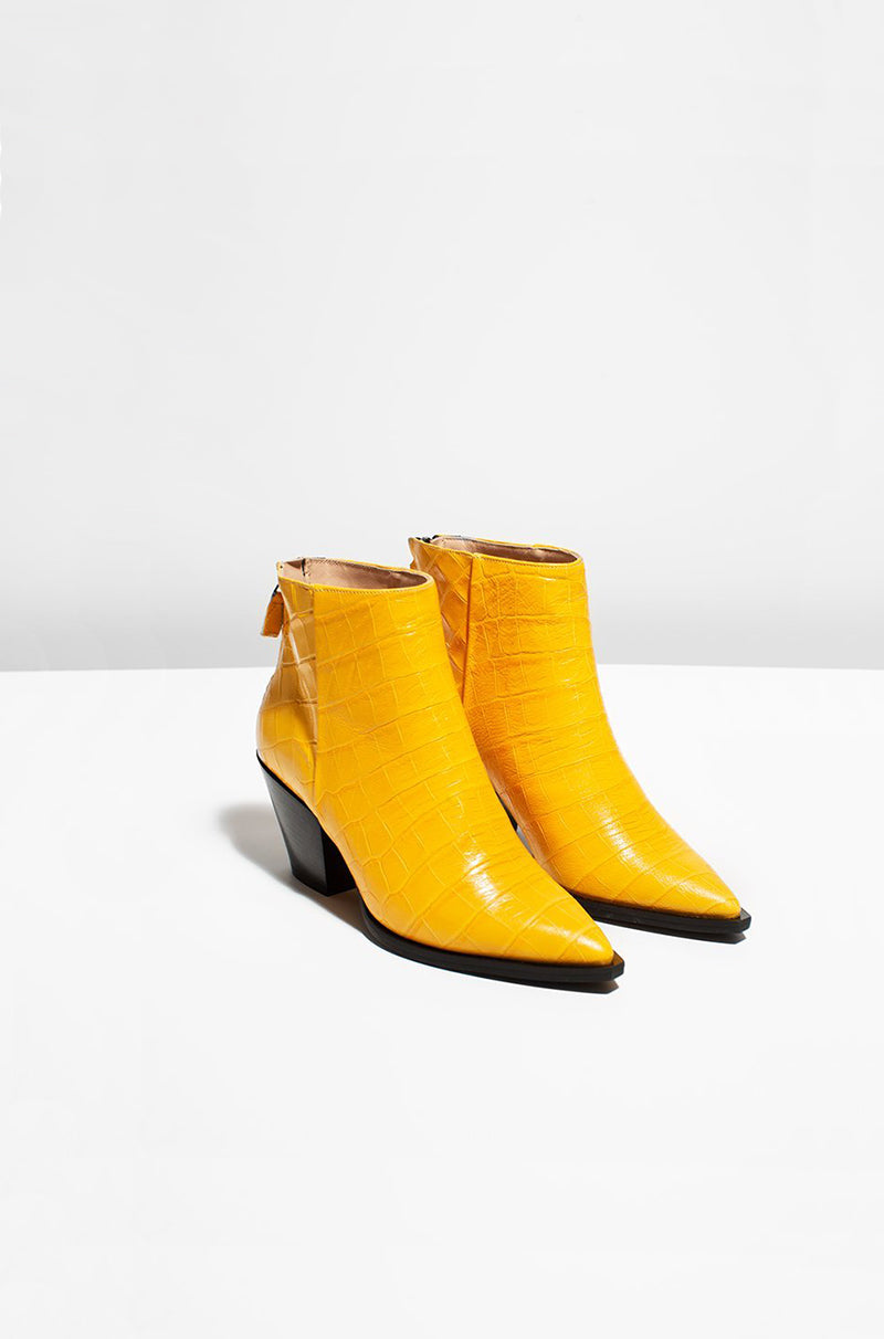 OH BOY - yellow snake leather