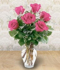6 Pink Roses