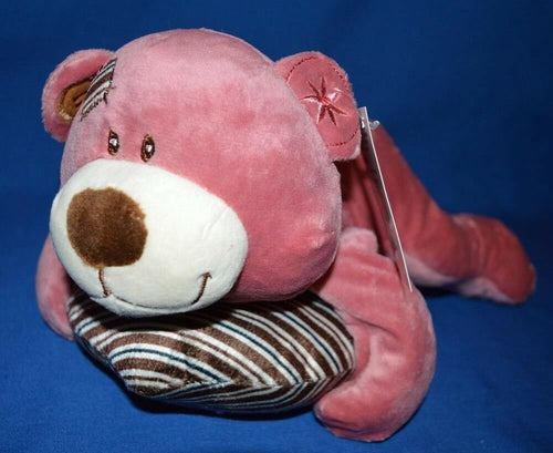 Ruby Teddy Bear Lying with Heart Pillow Pink 29cm - Australia only