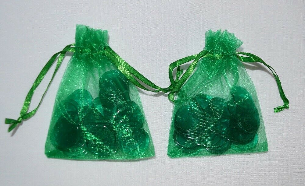 100 Premium Green Bingo Chips in Green Organza Bags - Australia only - Better Buy Now