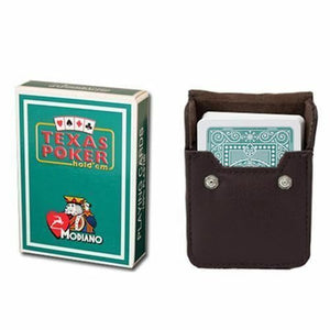 Dark Green Modiano Texas, Poker-Jumbo Cards w- Leather Case - Australia only - Better Buy Now