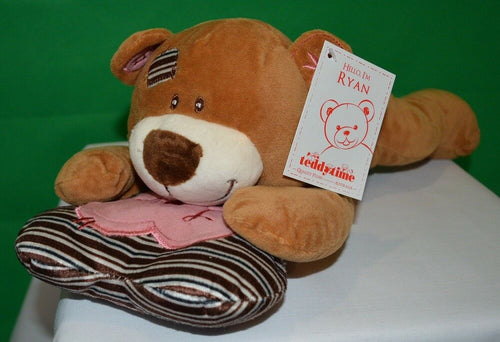 Ryan Teddy Bear Lying with Heart Pillow Brown 29cm Plush - Australia only