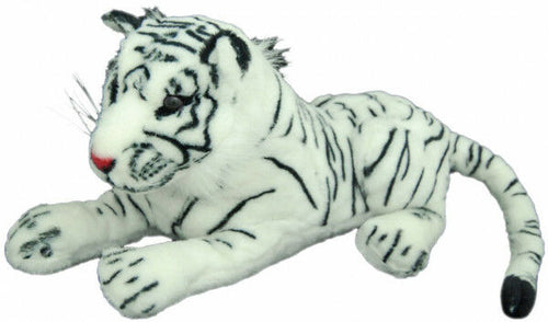 TIGER LAYING WHITE 40CM - Plush toy - Australia only