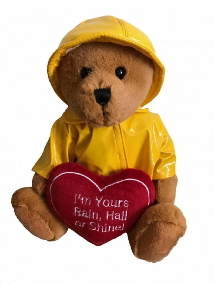 Bear with Yellow Raincoat and Heart - 30cm - ELKA - AUSTRALIA only - Better Buy Now