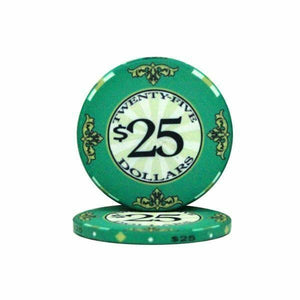 Roll of 25 - $25 Scroll 10 Gram Ceramic Poker Chip - Australia only - Better Buy Now