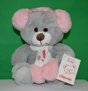 Isabel Teddy Bear with Head Phones Grey and Pink Plush 24cm - Australia only - Better Buy Now