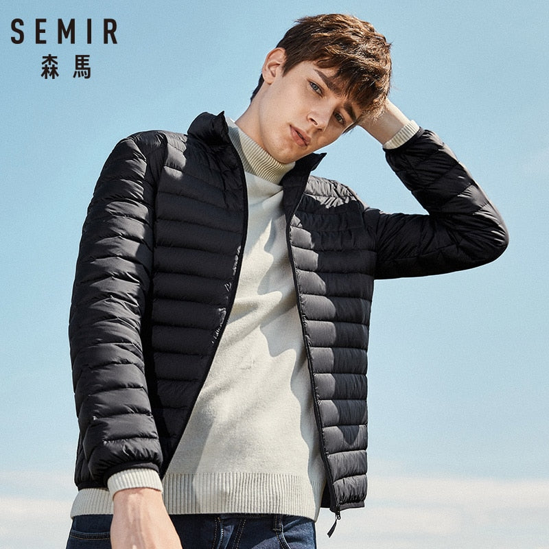 SEMIR 2018 Down Jacket Men Winter Portability Warm 90% White Duck Down Hooded Natural Fur Collar Man Down Coat Waterproof Men - Better Buy Now