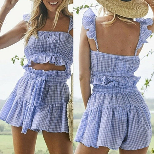 Fashion Womens Checkerboard 2 Piece Set - Ruffles Shorts Off Shoulder Tank Crop Top + Hot Shorts Summer Bandge Gingham Clothings - Better Buy Now