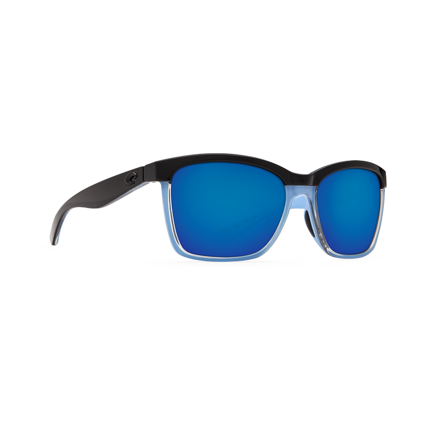 Costa Anaa - Blue Mirror Polarized Polycarbonate 580 Lens - Shiny/Black/Crystal Lt Blue Frame