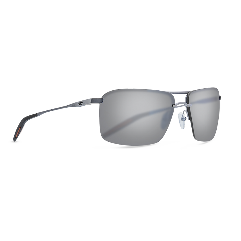 Costa Skimmer - Gray Silver Mirror Polarized Polycarbonate 580 Lens - Matte Silver plus Translucent Grey/Orange