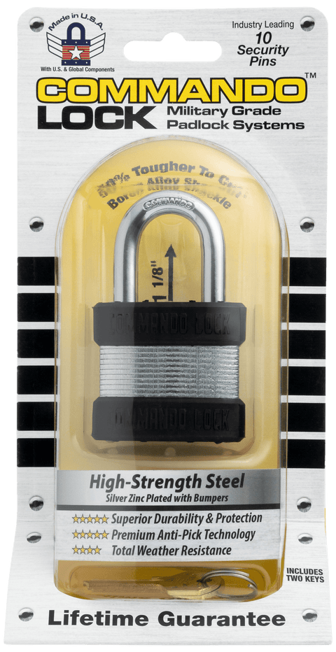 Commando Lock Heavy Duty Padlock | 2 Bumper High Security | Military-Grade Commando Lock