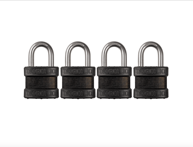 Blackout Laminated Steel Padlock | Military-Grade | Pelican Case Locks Commando Lock 4 PACK KEYED ALIKE