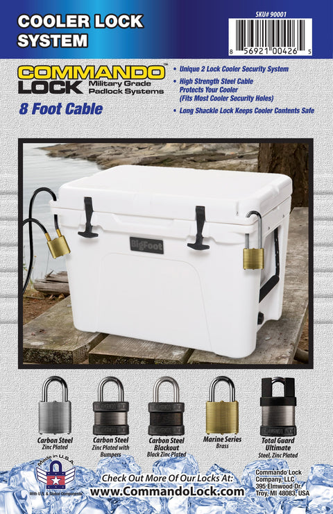 Commando | Cooler Cable Locks | 2 Blackout PadLocks (KA) | Heavy Duty