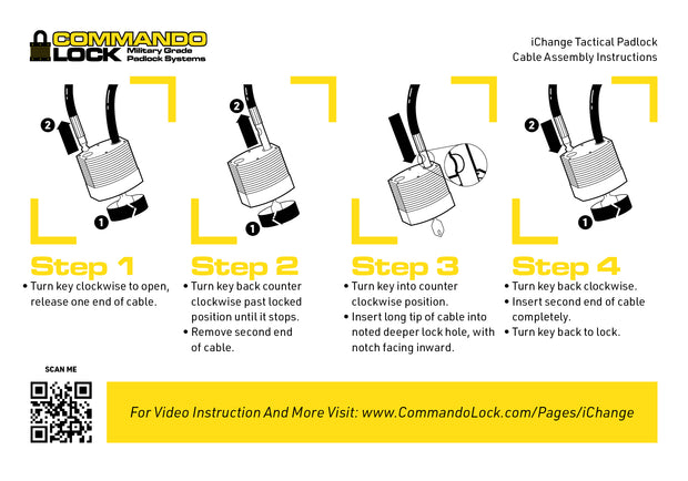 PRO Kit- iChange  | 4-IN-1 Padlock System Military-Grade | 2-Locs, 4-Shkl, 1-8ft. Cbl