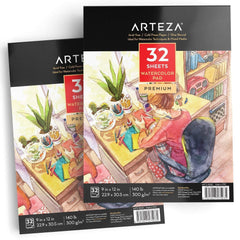 "Arteza Watercolor Pad 32 Sheets - 9X12"" Pack of 2"