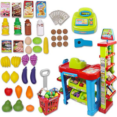 Supermarket Stall Toy and Shopping Cart