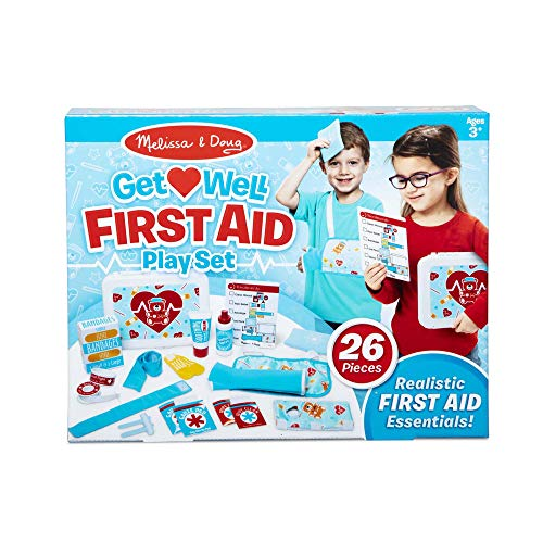 Melissa & Doug Get Well First Aid Kit Play Set (25 Toy Pieces, Great Gift for Girls and Boys - Best for 3, 4, 5, and 6 Year Olds)