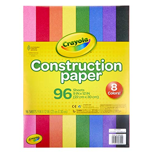 "Crayola Construction Paper 9"" x 12"" Pad, 8 Classic Colors (96 Sheets)"