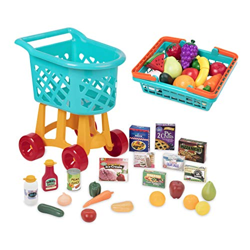 Battat Toy Shopping Cart with Basket, Pretend Play Food (60Pc)