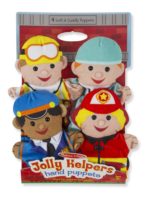 Melissa & Doug Jolly Helpers Hand Puppets - Set of 4, Construction Worker, Doctor, Police Officer, Firefighter)