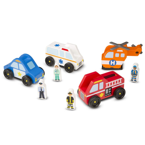 Melissa & Doug Emergency Vehicle Wooden Play Set With 4 Vehicles