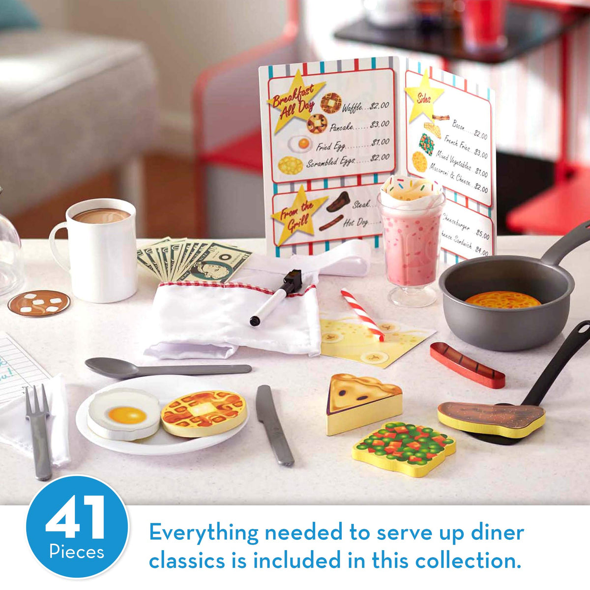 Melissa & Doug Star Diner Restaurant 41 Pieces Play Set