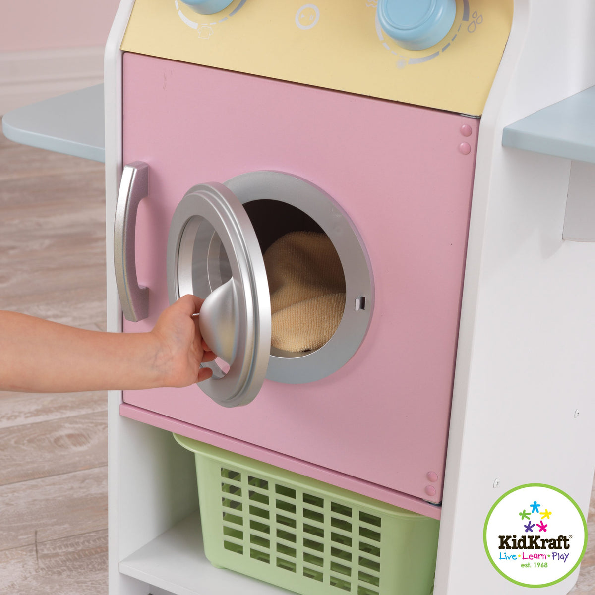 KidKraft Laundry Children's Pretend Play Wooden Stacking Washer and Dryer Toy with Iron and Basket - Pastel