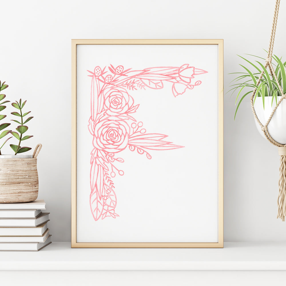 F (Floral Monogram) Digital Download