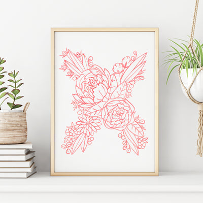 X (Floral Monogram) Digital Download