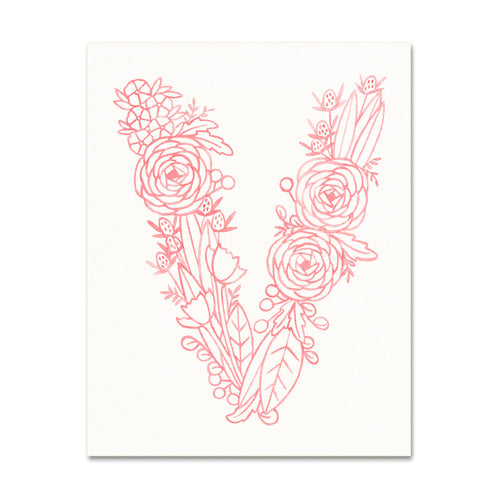 V (Floral Monogram) Digital Download