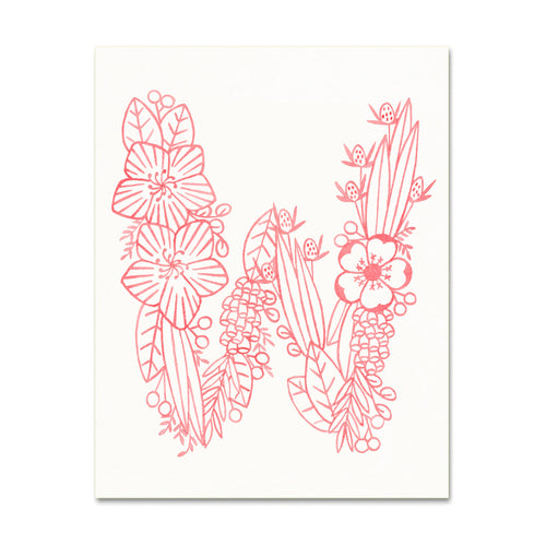 W (Floral Monogram) Digital Download