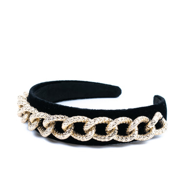 Brass Chain Velvet Headband